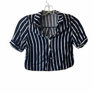 Timing crop top button up stripped top size small